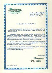 Podziękowania od federacji organizacji pozarządowych