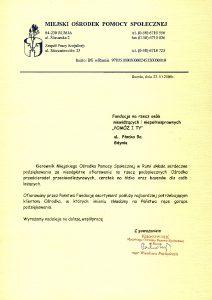Podziękowania od MOPS w Rumii